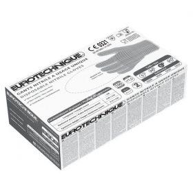 Jednorázové nitrilové rukavice EUROTECH - černé, nepudrované