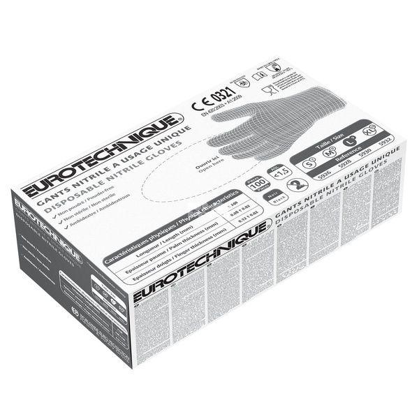Jednorázové nitrilové rukavice EUROTECH - černé, nepudrované EUROTECHNIQUE