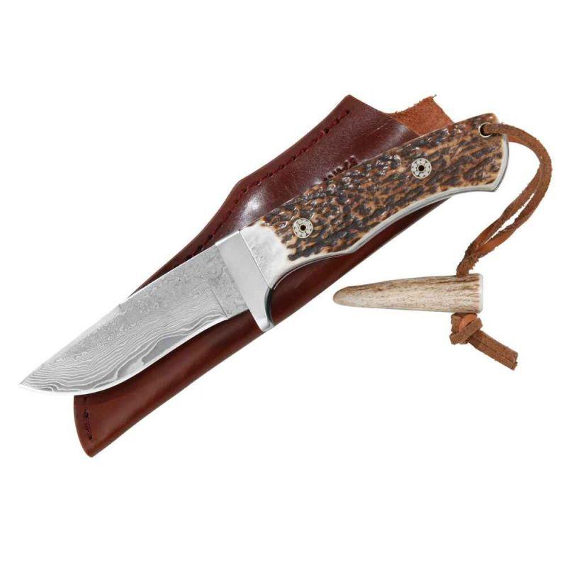 Lovecký nůž Parforce, Antler - damašková čepel 9 cm