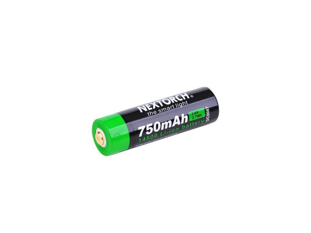 Nabíjecí baterie Nextorch 14500 Li-Ion, 750mAh s USB