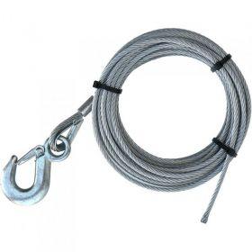 Pozinkované ocelové lano s hákem, 5 mm x 10 m