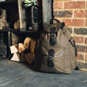 Batoh TRIP plátěný s koženými doplňky ZELENÝ JACK PYKE