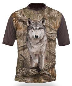 kopie Hillman Myslivecké tričko kr. rukáv Vlk 3D - kamufláž