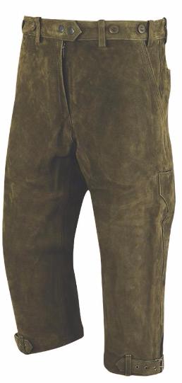 Kalhoty kožené pumpky zelené Braunau Carl Mayer