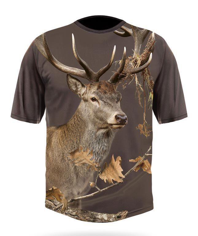 Hillman Myslivecké tričko bavlna DGT 3D Jelen - dub