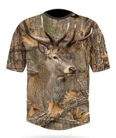 Hillman Myslivecké tričko bavlna DGT 3D Jelen - kamufláž