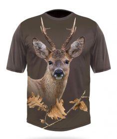 Hillman Myslivecké tričko bavlna DGT 3D Srnec - dub