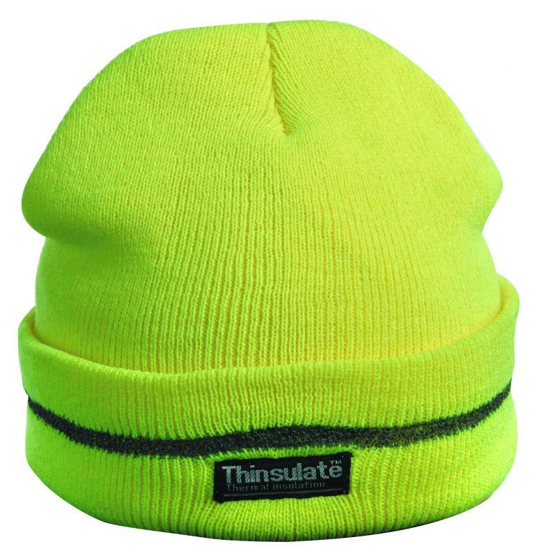 Pletená čepice TURIA žlutá reflexní
