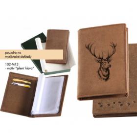 Pouzdro na myslivecké doklady - jelení hlava