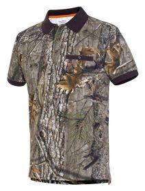 Myslivecké tričko s límečkem kr. rukáv Cotton - kamufláž