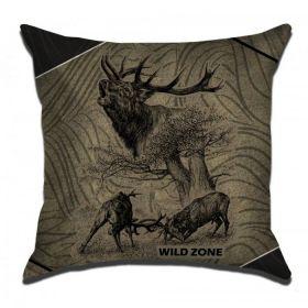 WildZone zelený polštář s motivem jelena